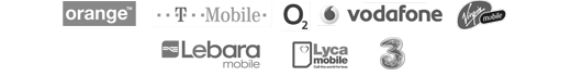 Orange, T-Mobile, O2, Vodafone, Virgin Mobile, Lebara mobile, Lyca mobile, 3 mobile